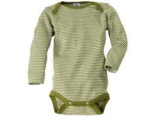 Baby Body Langarm Wolle Seide grün-geringelt