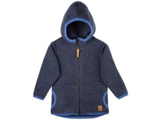 Baby und Kinder Jacke mit Kapuze Bio-Merino-Wollfleece jeans
