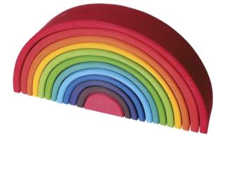 Großer Regenbogen aus Lindenholz, 12-teilig, bunt lasiert