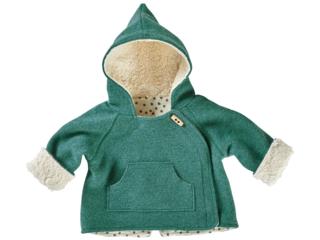 Baby und Kinder Jacke Bio Schurwoll-Walk mit Teddyfutter grün