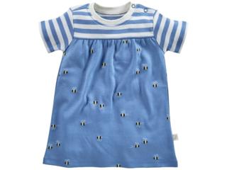Baby Kleid Kurzarm Bio-Baumwolle Biene blau