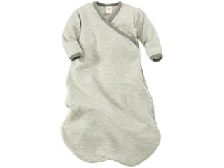 Baby Schlafsack Wickelsack Wolle Seide grau-geringelt