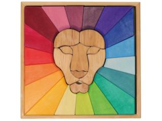 Bauspiel Regenbogenlöwe Massivholz, 27-teilig, bunt lasiert