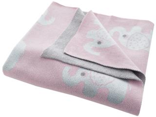 Babydecke Bio-Baumwolle, Elefanten rose