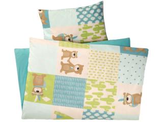 Kinderbettwäsche Bio-Baumwolle Patchwork Bär