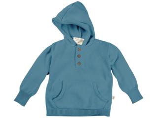 Kinder Pullover mit Kapuze Strick Bio-Baumwolle blau