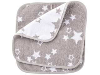 Waschlappen Bio-Baumwolle 2er Set Sternchen grau