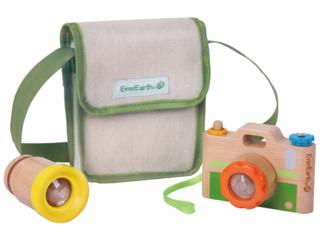 Kinderkamera aus Kautschukholz, 4-teilig, bunt