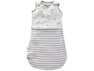 Baby Schlafsack ohne Arm Bio-Baumwolle Biene grau-off white