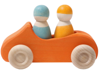 Großes Cabrio Spielzeugauto aus Lindenholz, orange lasiert