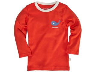 Kinder Langarmshirt Bio-Baumwolle rot mit Druck