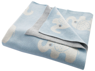 Babydecke Bio-Baumwolle, Elefanten bleu