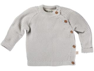 Baby Jacke Perl-Strick Bio-Baumwolle hellgrau melange
