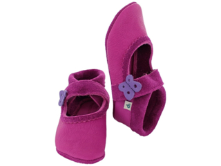 Baby und Kinder Hausschuhe Krabbelschuhe Ecopell Leder purpur
