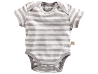 Baby Body Kurzarm Bio Baumwolle grau-off white