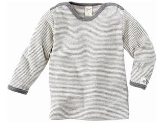 Langarm-Schlupfhemd grau-geringelt