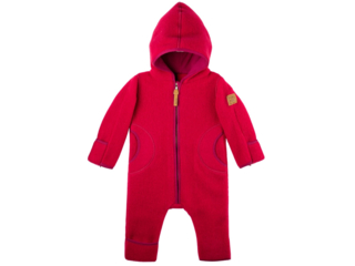 Baby und Kinder Overall mit Kapuze Bio-Merino-Wollfleece (kbT) himbeer