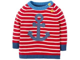 Kinder Pullover Anker rot- geringelt