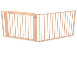 "Treppen-Türschutzgitter ""Maxi"" mit Tür, massive Buche, klar lackiert"
