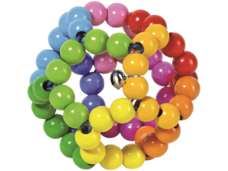 "Greifling aus Holz mit Glöckchen ""Elastik Regenbogenball"""