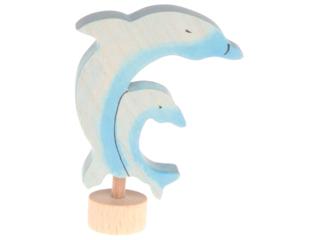 Delfine Steckfigur aus Lindenholz, bunt lasiert
