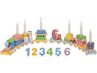 Geburtstagszug Eisenbahn aus Holz mit austauschbaren Zahlen 1-6
