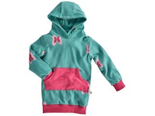 Kinder Long Pullover mit Kapuze Bio-Baumwolle Schmetterling pink