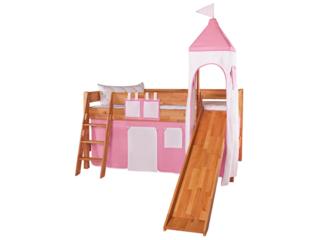 Turm Vorhang für Spielbett, rosa-weiß