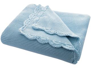 Babydecke Bio-Baumwolle mit Muschelkante, blau