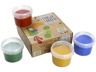 "Fingerfarben 4er Set ""Aki"" rot  ,gelb, grün, blau"
