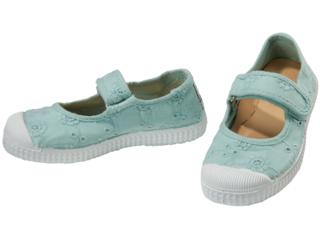 Kinder Schuhe Ballerinas Stickerei und Klettverschluss mint