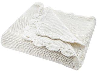 Babydecke Bio-Baumwolle mit Muschelkante, nature