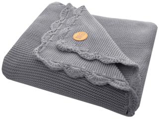 Babydecke Bio-Baumwolle mit Muschelkante, graphit