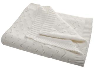 Babydecke Ajour Strick Bio-Baumwolle ivory