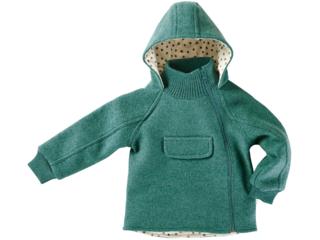 Kinder Jacke mit Kapuze Bio Schurwoll-Walk grün