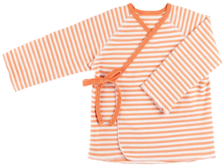 Baby Shirt zum Wickeln papaya-gestreift