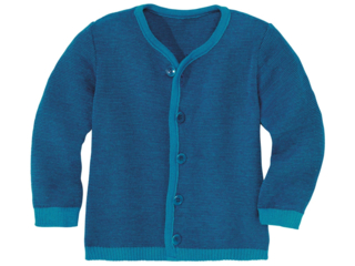 Kinder Strickjacke Merinowolle (kbT) melange- blau