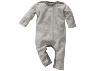 Baby Strampler Bio-Merinowolle (kbT) Seide grau-geringelt