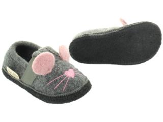 Kinder Hausschuhe Walkpuschen Mäuschen grau-melier