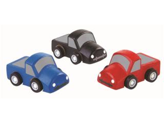 Mini Trucks, 3er Set aus Kautschukholz