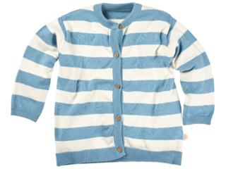Kinder Strickjacke Bio-Baumwolle ecru-blau