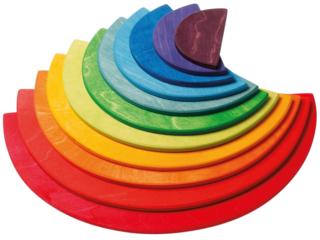 Großer Regenbogen Halbkreise aus Lindenholz, 11-teilig, bunt lasiert