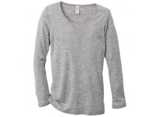 Damen-Unterhemd Langarm hellgrau-melange