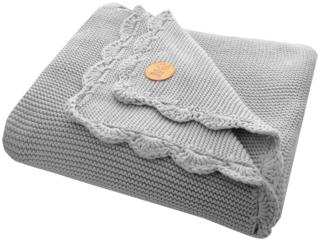 Babydecke Bio-Baumwolle mit Muschelkante, grey