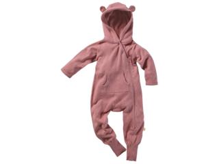Baby Overall mit Kapuze Strick-Qualität Bio-Baumwolle rose
