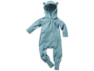 Baby Overall mit Kapuze Strick-Qualität Bio-Baumwolle blau