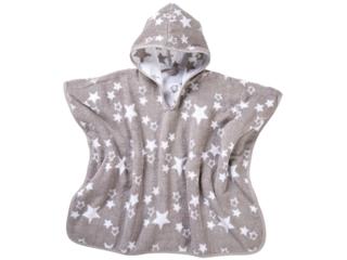 Badeponcho mit Kapuze Bio-Baumwolle Sternchen grau