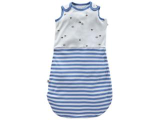 Baby Schlafsack ohne Arm Bio-Baumwolle (kbA) Biene blau-off white