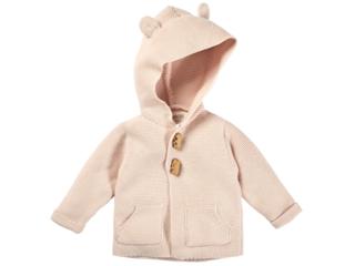 Baby Strickjacke mit Kapuze Bio-Baumwolle rose melange