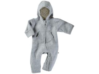 Baby Overall mit Kapuze Bio Schurwoll-Walk hellgrau